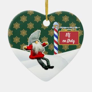 Ornement Cœur En Céramique Noël en service des elfes de FD ornemente 53086B23