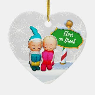 Ornement Cœur En Céramique Noël en service des elfes de FD ornemente 53086C20