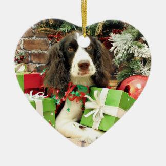 Ornement Cœur En Céramique Noël - épagneul de springer anglais - Kinzie