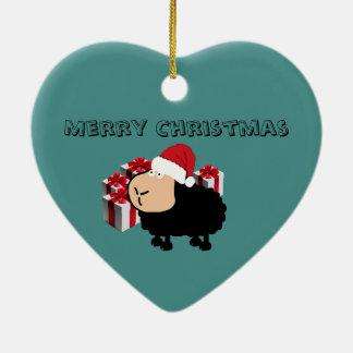 Ornement Cœur En Céramique Noël mignon drôle de moutons de bande dessinée de