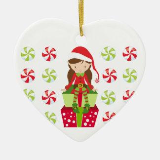 Ornement Cœur En Céramique Noël personnalisé Elf de sucrerie