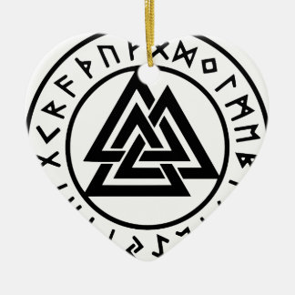 Ornement Cœur En Céramique Noeud païen Valknut d'Odins de symboles