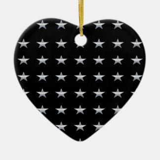 Ornement Cœur En Céramique Noir d'étoiles chanceuses avec la conception