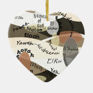Ornement Cœur En Céramique Noms de Dieu