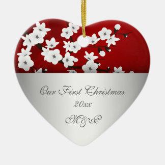 Ornement Cœur En Céramique Nos premières de Noël fleurs de cerisier ensemble
