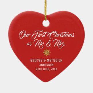 Ornement Cœur En Céramique Notre M. et Mme mariés premier par Noël Ornament
