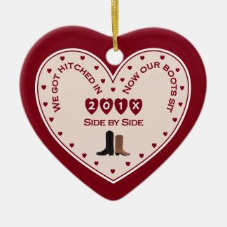 Ornement Cœur En Céramique Notre pays marié ęr par Noël occidental