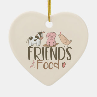 Ornement Cœur En Céramique Nourriture 2 d'amis pas