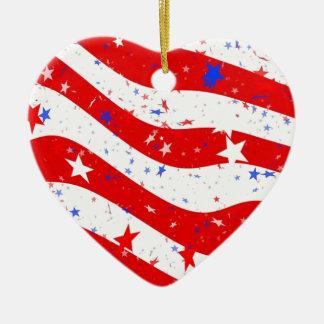 Ornement Cœur En Céramique Nous drapeau américain de drapeau de l'Amérique de