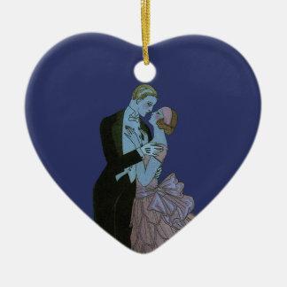 Ornement Cœur En Céramique Nouveaux mariés vintages d'art déco, danse de