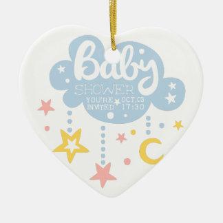 Ornement Cœur En Céramique Nuage et Temp de conception d'invitation de baby