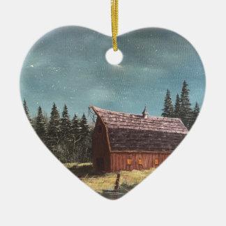 Ornement Cœur En Céramique Nuit à la grange