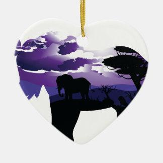 Ornement Cœur En Céramique Nuit africaine avec l'éléphant