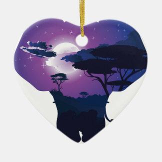 Ornement Cœur En Céramique Nuit africaine avec l'éléphant 3