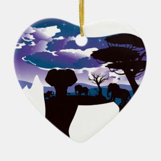 Ornement Cœur En Céramique Nuit africaine avec l'éléphant 5