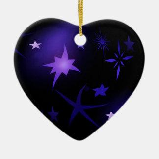 Ornement Cœur En Céramique Nuit étoilée