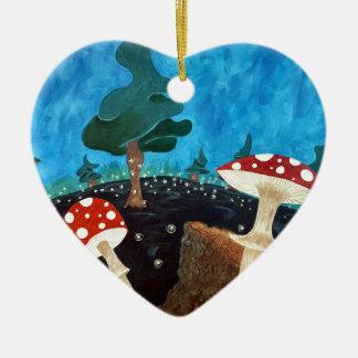 Ornement Cœur En Céramique nuit trippy dans les bois