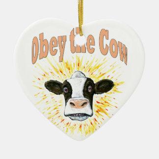 Ornement Cœur En Céramique Obéissez la vache