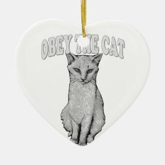 Ornement Cœur En Céramique Obéissez le chat