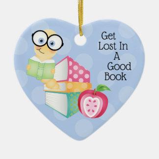 Ornement Cœur En Céramique Obtenez perdu dans un bon livre