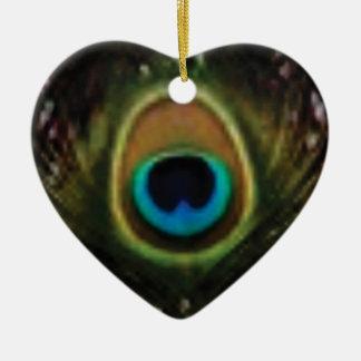 Ornement Cœur En Céramique oeil de paon ouais