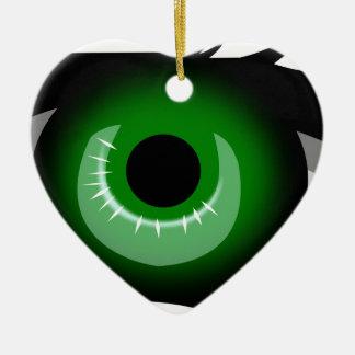 Ornement Cœur En Céramique Oeil vert