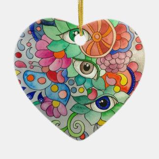 Ornement Cœur En Céramique Oeils en couleur