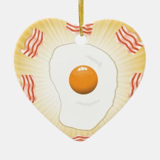Ornement Cœur En Céramique Oeuf au plat