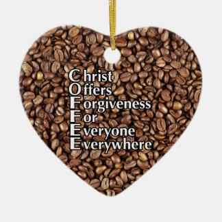 Ornement Cœur En Céramique Offres du Christ de grains de café d'ornement de