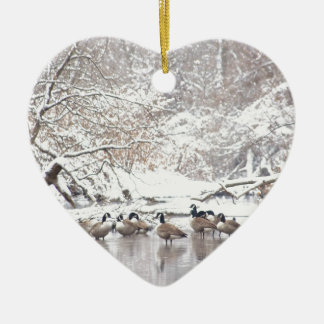 Ornement Cœur En Céramique Oies dans la neige