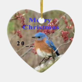 Ornement Cœur En Céramique Oiseau bleu