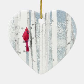 Ornement Cœur En Céramique Oiseau cardinal rouge dans le bel arbre de bouleau