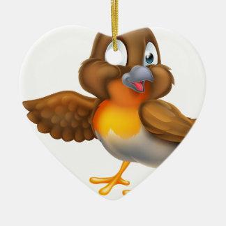 Ornement Cœur En Céramique Oiseau de Robin de bande dessinée dirigeant l'aile