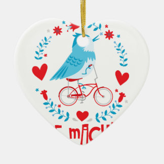 Ornement Cœur En Céramique Oiseau d'oiseau bleu de machine d'amour sur la
