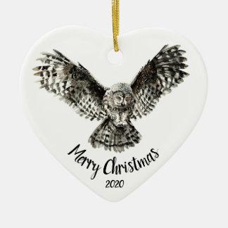 Ornement Cœur En Céramique Oiseau saisissant de hibou de Noël daté de coutume