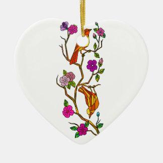 Ornement Cœur En Céramique Oiseau sur le bas polygone de fleurs de cerisier
