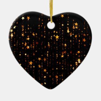 Ornement Cœur En Céramique or brillant d'étoiles
