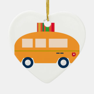Ornement Cœur En Céramique Or d'autobus de conception