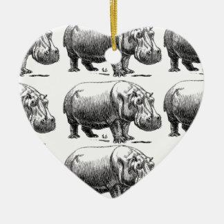 Ornement Cœur En Céramique or d'hippopotame