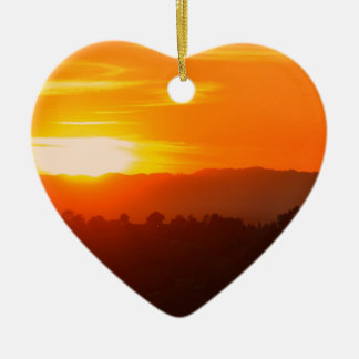 Ornement Cœur En Céramique Orange orange Sun de ciel de Hollywood Los Angeles