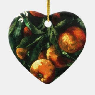 Ornement Cœur En Céramique Oranges