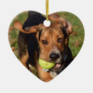 Ornement Cœur En Céramique Oreilles de beagle de Houndie agitant le coeur de