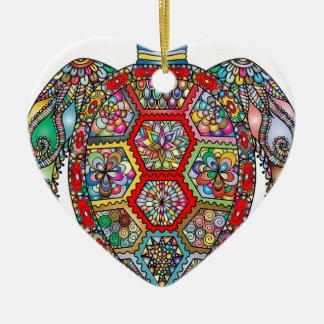 Ornement Cœur En Céramique Ornamental décoratif de fleurs florales de tortue