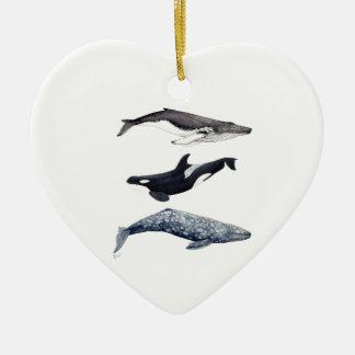 Ornement Cœur En Céramique Orque, baleine bossue et baleine gris