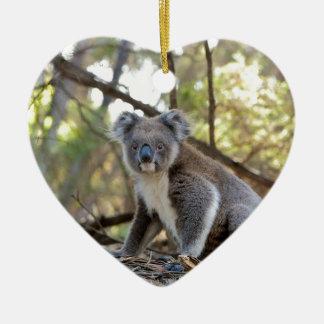 Ornement Cœur En Céramique Ours de koala gris et blanc