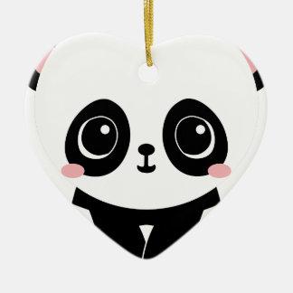 Ornement Cœur En Céramique Panda adorable