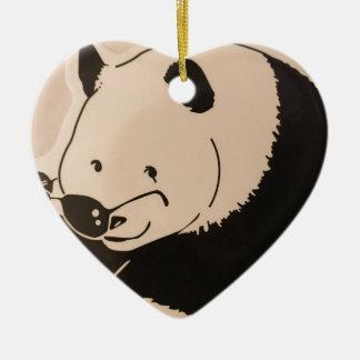 Ornement Cœur En Céramique Panda frais avec des nuances