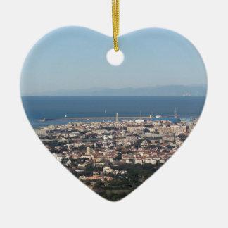 Ornement Cœur En Céramique Panorama aérien de ville Toscane Italie de