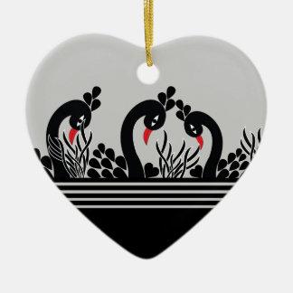 Ornement Cœur En Céramique paon noir