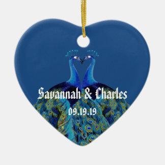 Ornement Cœur En Céramique Paons vintages embrassant des cadeaux de mariage